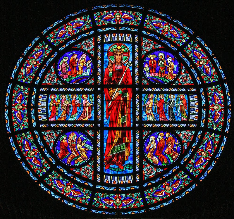 Christ the King_stained glass_rose window