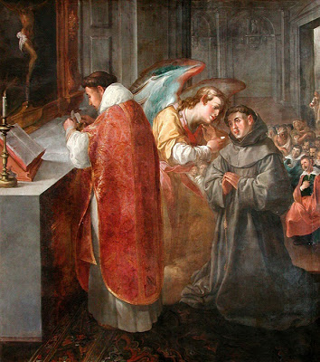 St. Bonaventure receiving Communion from an Angel