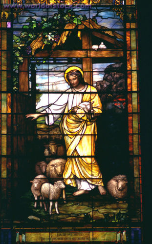 Christ the good shepherd stained glass 2