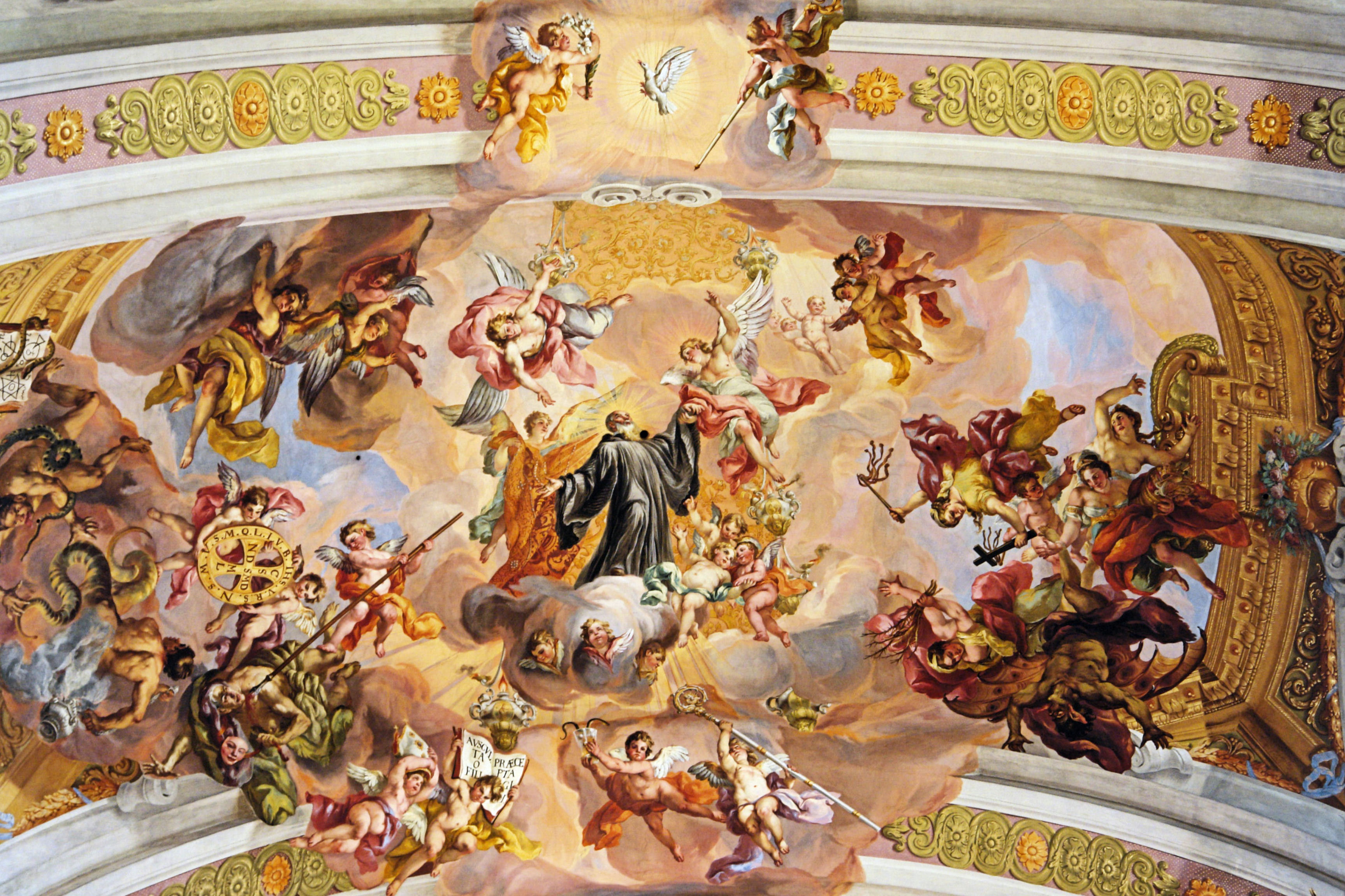 St._Benedict's_triumphal_ascent_to_heaven_by_Johann_Michael_Rottmayr_-_Melk_Abbey_Austria
