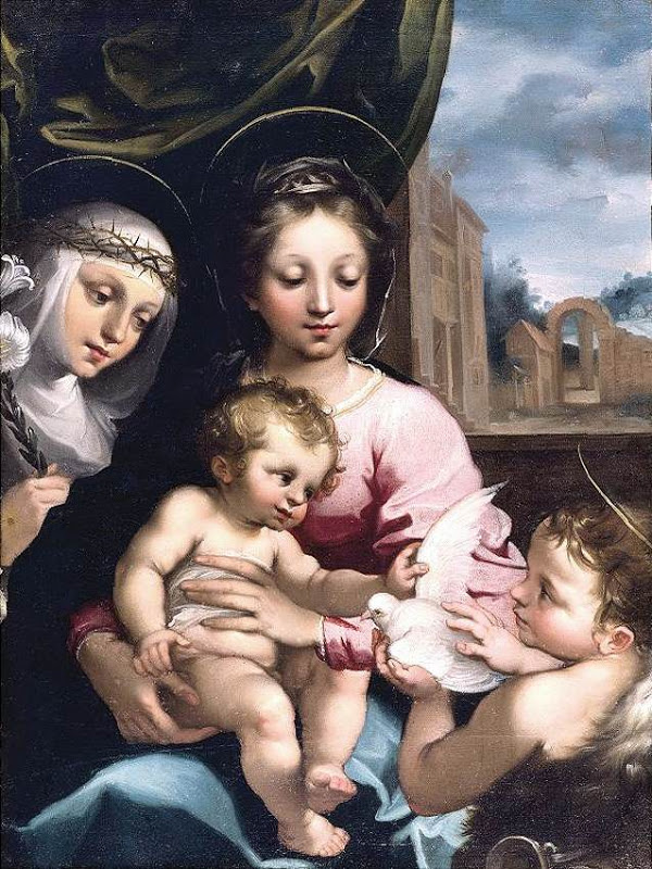 Madonna and Child with Ss John the Baptist and Catherine of Siena_MANETTI, Rutilio