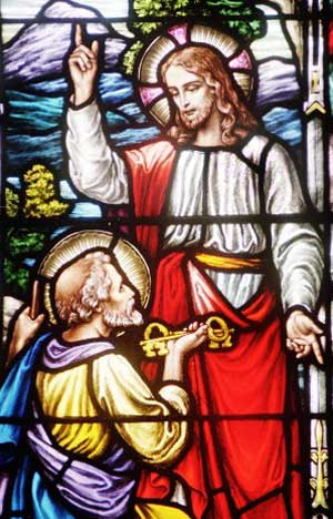 Christ giving the keys of heave to St Peter_stained glass