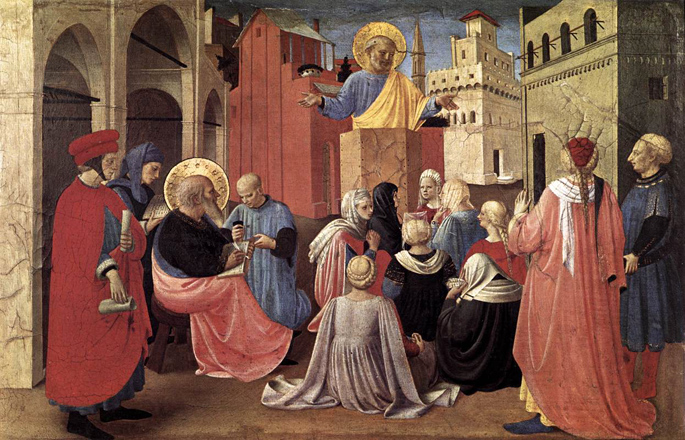 S. Peter preaching the presence of St. Mark - Fra Angelico