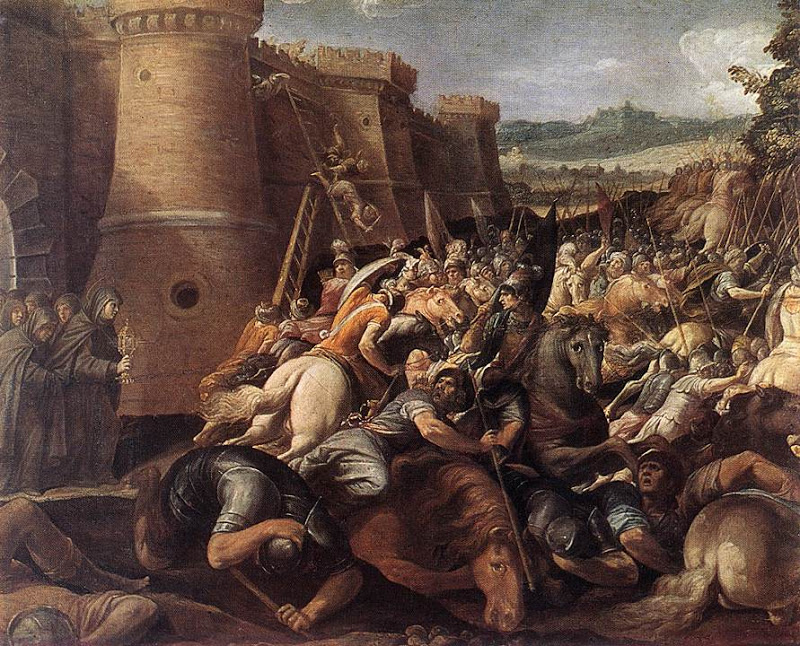 Clare at the seige of Assisi_CESARI, Giuseppe