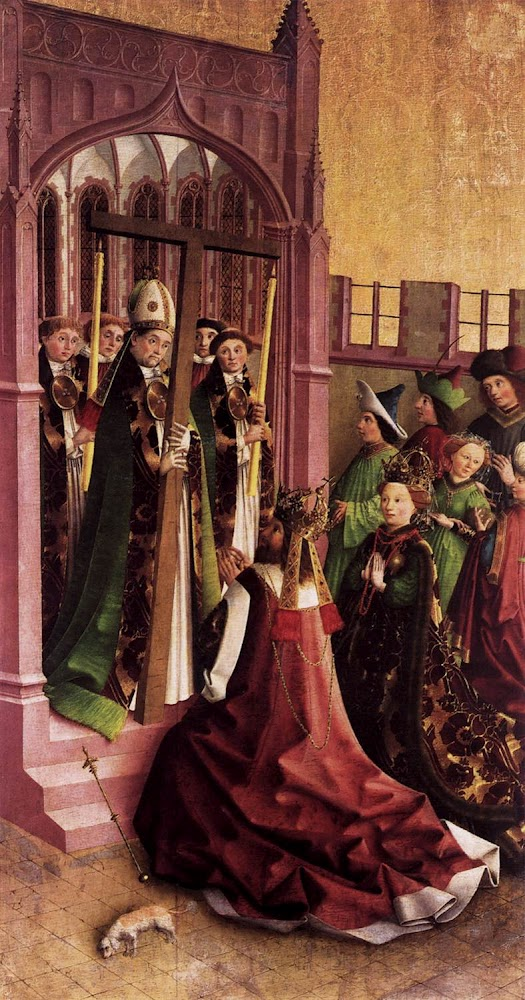 Cross_Darmstadt Altarpiece Constantine and His Mother Helena Venerating the True Cross_UNKNOWN MASTER, German