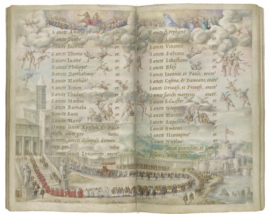 Farnese Hours_Papal Procession_Rome_1546_M.69_72v-73r