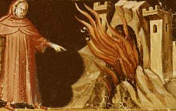 15th-Century Italian Miniature Depicting Dante and Virgil Facing the Gates of Hell