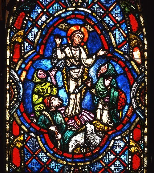 Angel appearance to the shepherds_Lawrence Saint stained glass