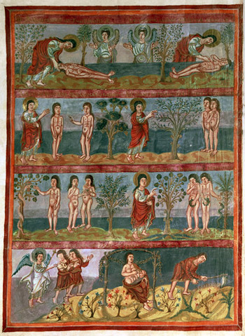 Add.10546 f.5v Adam and Eve, from the Moutier-Grandval Bible, illuminated in the Carolingian Abbey of St. Martin, Tours, Latin, c.834-843 (vellum)
