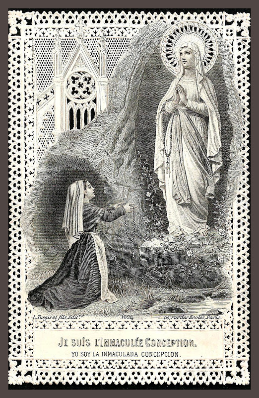 Our Lady of Lourdes_holy card_lace
