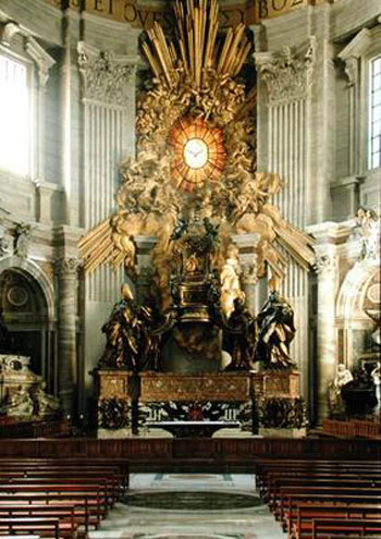 XJL158488 The chair of St. Peter, 1665 (bronze) by Bernini, Gian Lorenzo (1598-1680); St. Peter's, Vatican City; (add.info.: supported by statues of the four fathers of the church; Augustine and Ambrose of the Latin church; Saints Athanasius and John Chrysostom of the Greek church; Augustin; Ambroise; Athanase; Jean Chrysostome;); Italian,  out of copyright