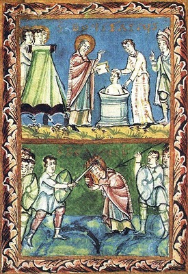 Boniface_baptizing and martyrdom_11th century illum